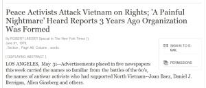 The New York Times om Joan Baez' kampanje for menneskerettigheter i Vietnam i 1979