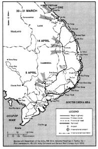 Kart over angrepene mot Quang Tri, Kontum og An Loc