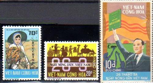 Frimerker om jordreformen i Sør-Vietnam 1970