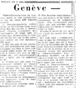 Aftenposten 21. juli 1954 om Genève-avtalen